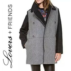 Lovers + Friends Two Toned Colorblock Wool Peacoat